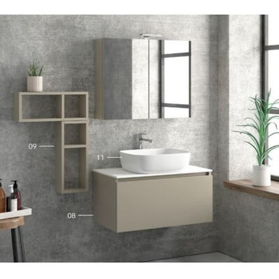 MOBILIER BAIE SPACE 80 BASE CU SERTAR SOFT CLOSE SI BLAT LACCATO